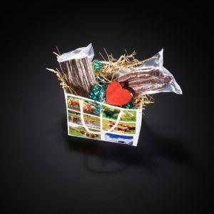 Geschenktasche Hochlandrind klein, mit verschiedenen Hochlandrinder-Spezialitäten